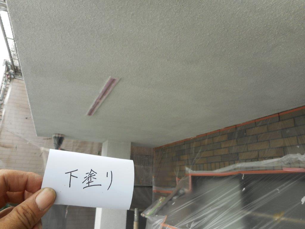 軒天の下塗り塗装